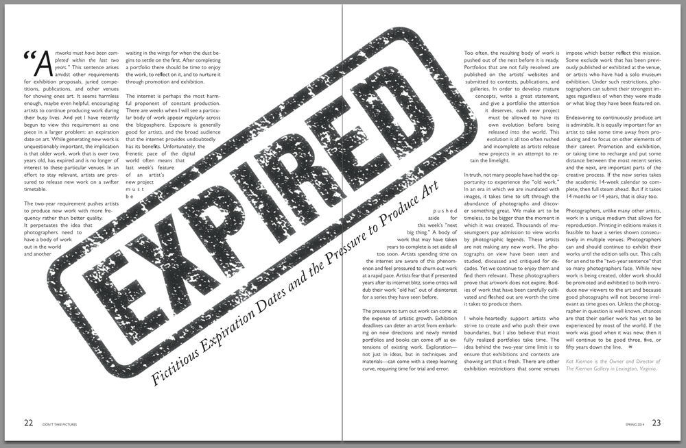 Fictitious Expiration Dates and the Pressure to Produce Art  Don't Take Pictures, Issue 2 (March 2014)