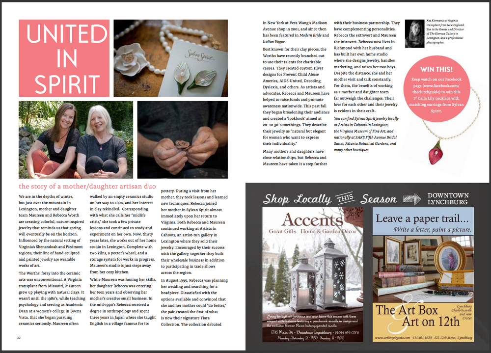 United in Spirit: A Mother/Daughter Artisan Duo  The Clutch Guide   (November 2013)