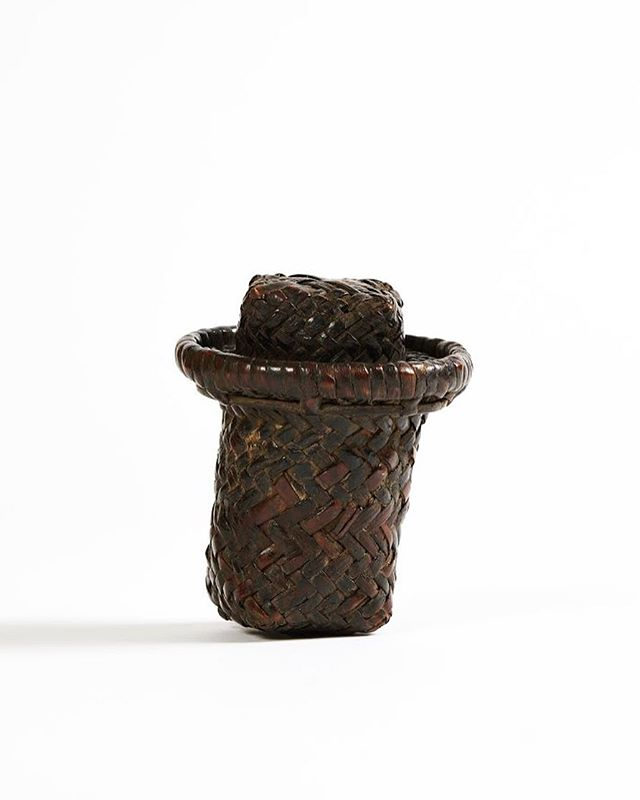 Lidded Kuba wickerwork basket. The Kuba are known for their exquisite textiles and basketry, with elaborate interplay of circles and squares. The Kuba Kingdom flourished between the 17th and the 19th century in the south-east of the modern-day DRC. Height: 12 cm.