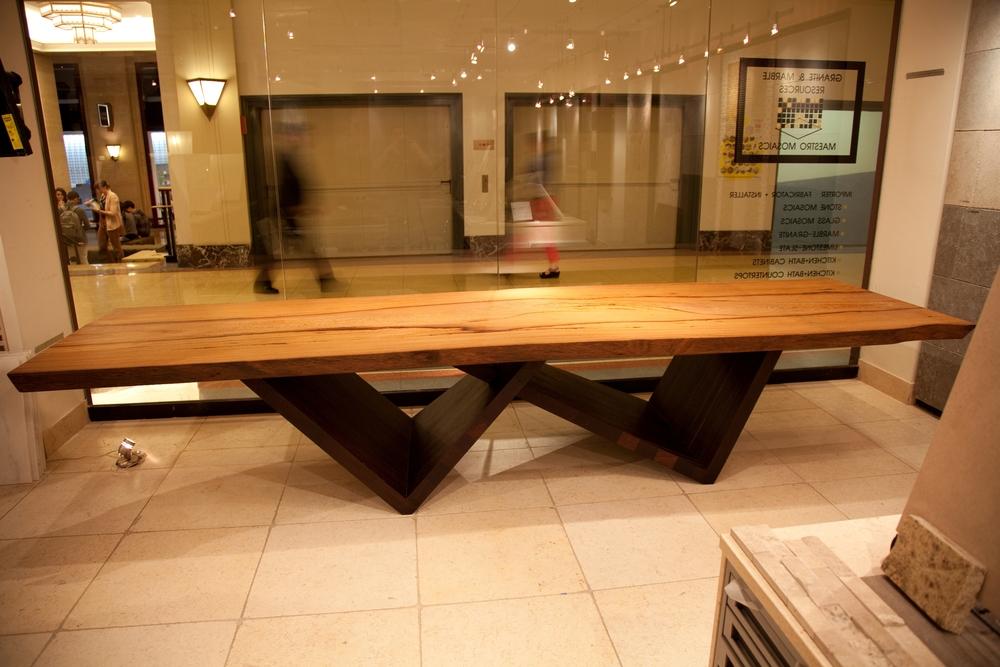 Terry goeke designed tables exotic hardwood flooring lumber yaya and wenge leg slab table watchthetrailerfo