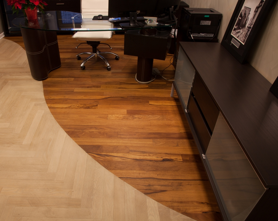 African Celtis Natural Light with Loba Natural Oil, and Bleached White Oak Herringbone with Loba White Oil     Photo Courtesy of A&B Hardwood Flooring Supplies, Chicago, Illinois