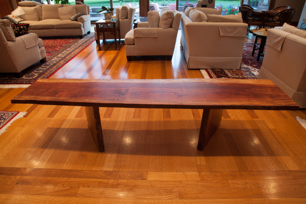 Exceptional African Bubinga Wood Live Edge Table / Bench