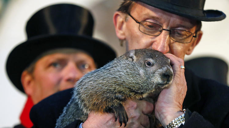 Don't be fooled by his cute exterior....this groundhog is nothing more than a pessimistic, weather predicting gypsy.