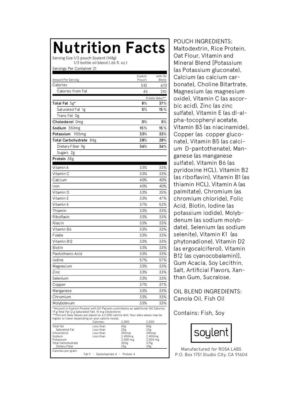 The ingredient list of Soylent - I think I need a nap after reading it.
