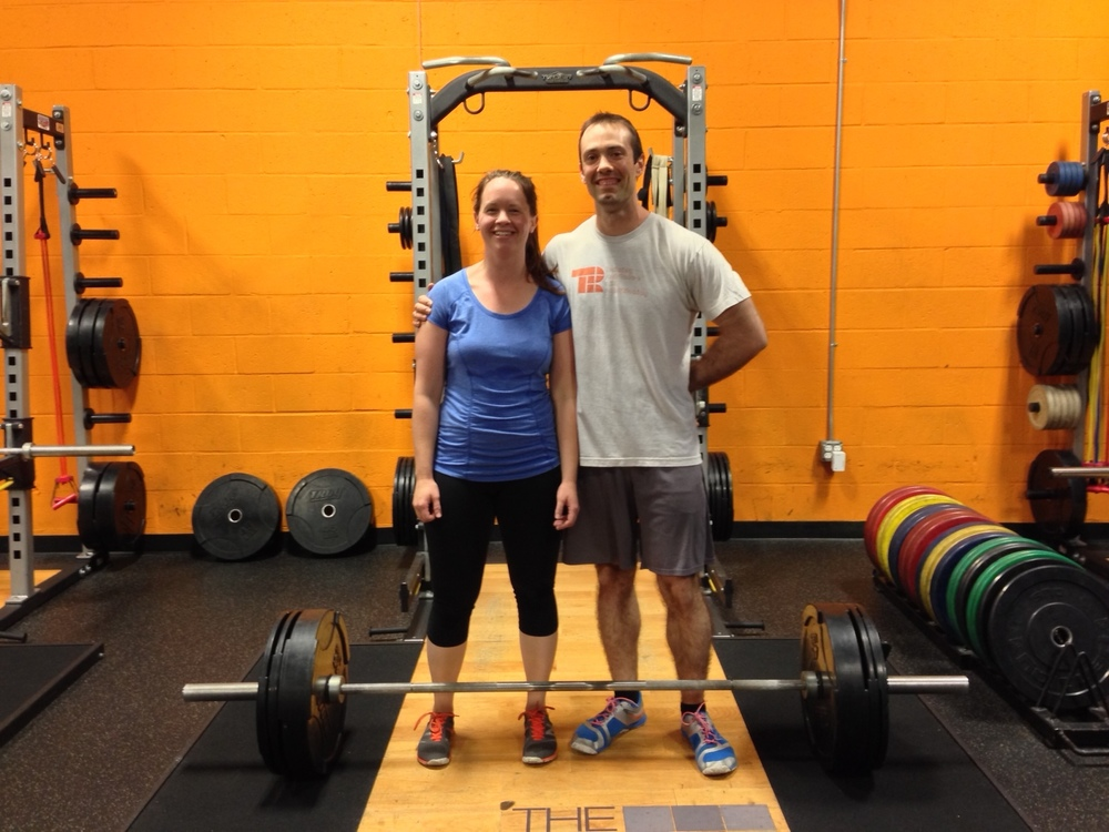 Sara and I with her (now outdated) deadlift PR.