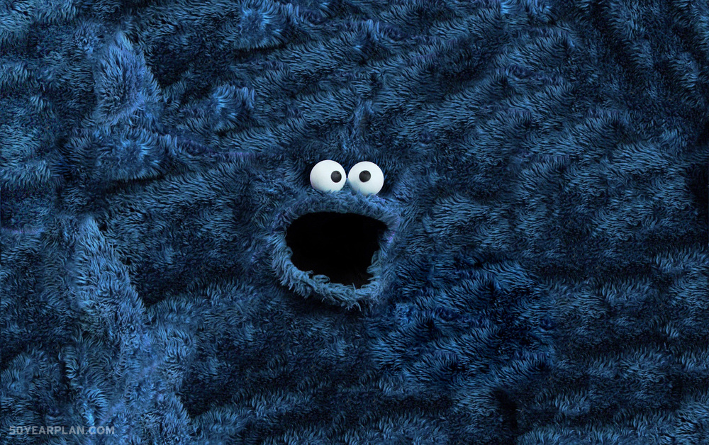 I made sesame street muppets turned into rugs - Cookie monster wallpaper ...