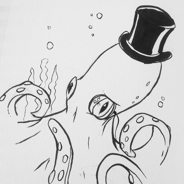 Octopus with top hat and monocle