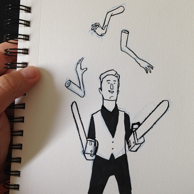 A juggler with chainsaws for arms juggling arms