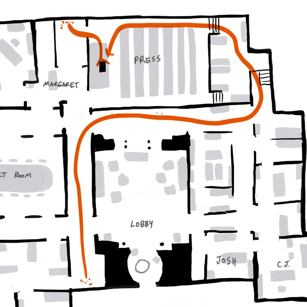 s01e09 CJ's path from her podium and back to her podium FOR NO REASON.