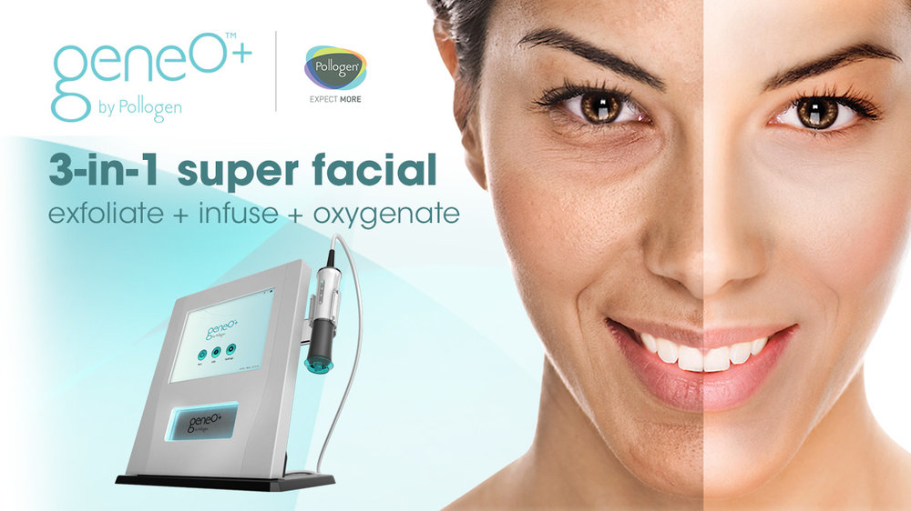 OxyGeneo - What makes OxyGeneo™ the new super-facial? Get the exfoliation benefits of microdermabrasion plus deep facial rejuvenation with the infusion of essential revitalizing nutrients and healing skin oxygenation from within. OxyGeneo™ treatments are suitable for all skin types – any ethnicity and pigmentation, sensitive skin, and even for those who keloid (scar) and couldn't otherwise have abrasion treatments.- Skin Plumping & Hydrating- Restored Skin Volume- Renewed Youthful Glow- Increased Collagen- Reduced hyper-pigmentation- Improved Skin Cell Production- Reduce Appearance of Wrinkles- Safe for ANY skin type!
