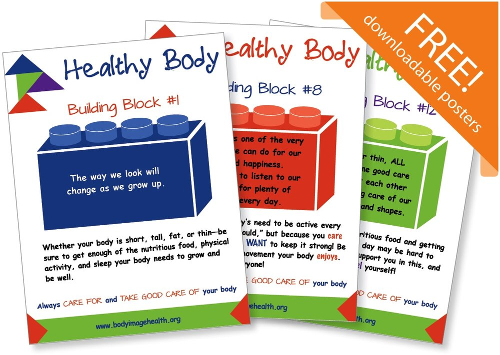 FREE POSTERS! Urge children and teens to stay CONNECTED TO, CARE FOR and TAKE CARE OF their diverse bodies, regardless of size. Download and print for schools, pediatric clinics, YW/YMCAs, home use, or anywhere you want to challenge unhelpful assumptions and bias about weight.