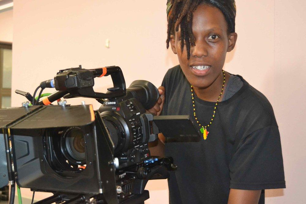 Philile Masondo gets to know the camera on set of UzaloDSC_6313.jpg