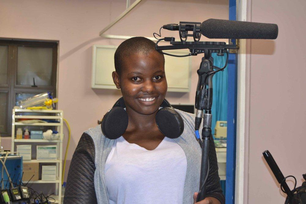 Thokozani Mahaye training in the sound department on the set of UzaloDSC_6282.jpg