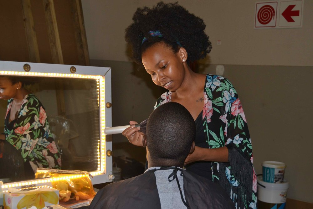 Trainee Pinky Sozombile  in the make-up department on the set of UzaloDSC_6264.jpg