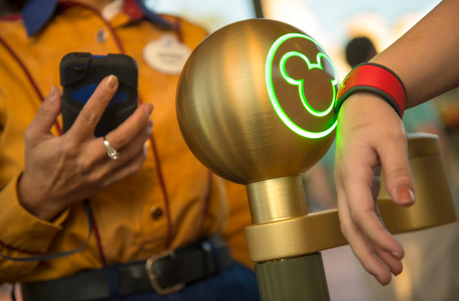 Disney's MagicBand Technology in use in the theme park