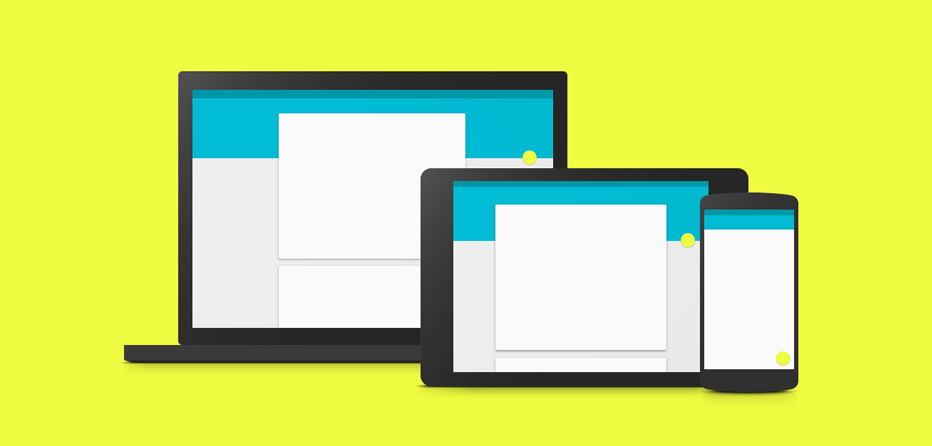 An example of Google's material design language, using shadows and colour to give context