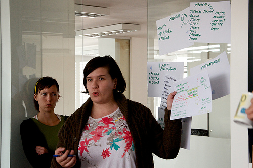 "Bistra, the sunny poet pitching her team's view. Though, not sure why Maruša is giving her ""the look."""