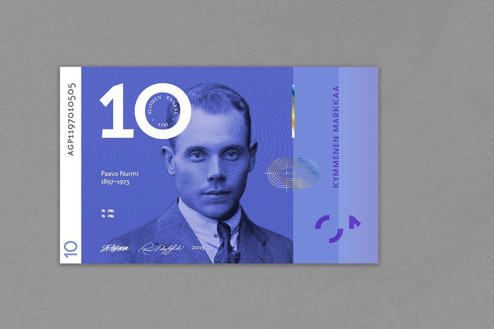 Kymmenen markan setelissä suomalaisen urheilun ikoni Paavo Nurmi.
