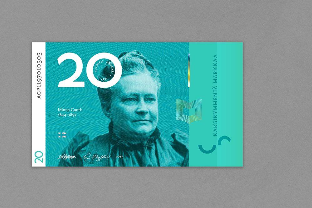 Kahdenkymmenen markan setelissä kirjailija Minna Canth.
