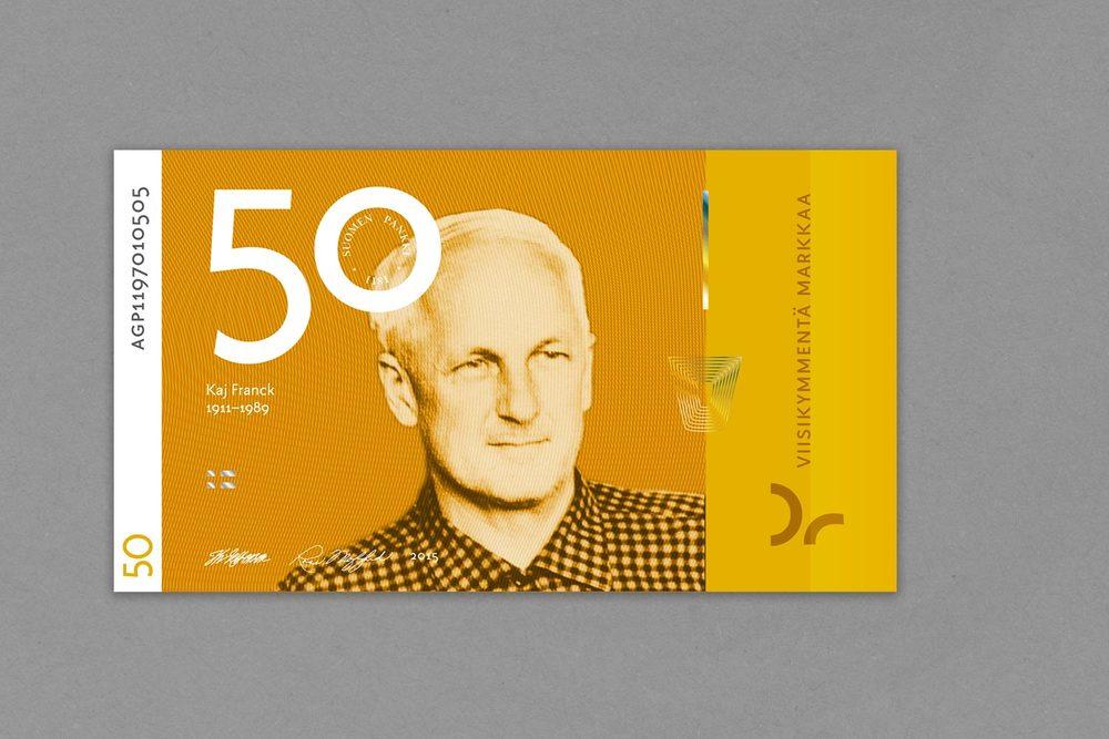 Viidenkymmenen markan setelissä arkkitehdin sijaan muotoilija Kaj Franck.
