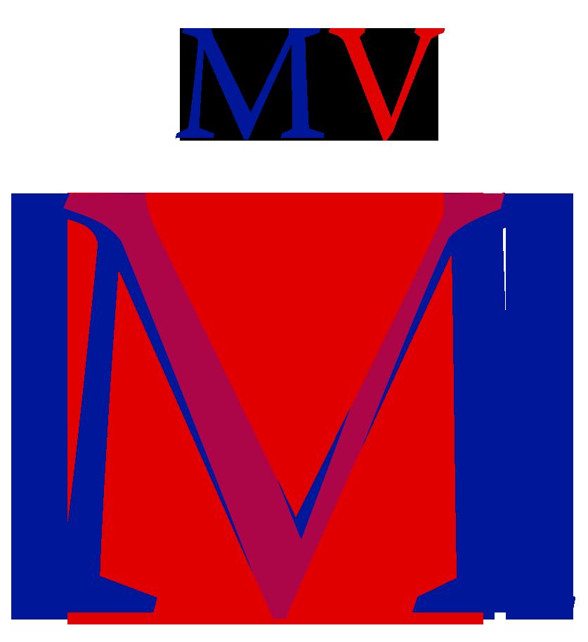 Warnock Regular  -fontin M ja V. Diagonaalivedot näyttävät samalta, vaikka V:n kulma on jyrkempi ja muodoltaan toisenlainen.