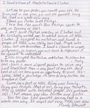 A testimony from one of our members.