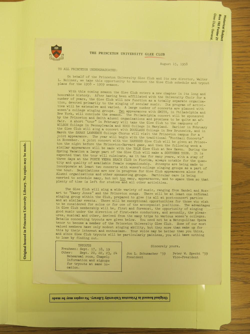 A letter from 1958 announcing a few landmark changes in the Glee Club's function and programming.