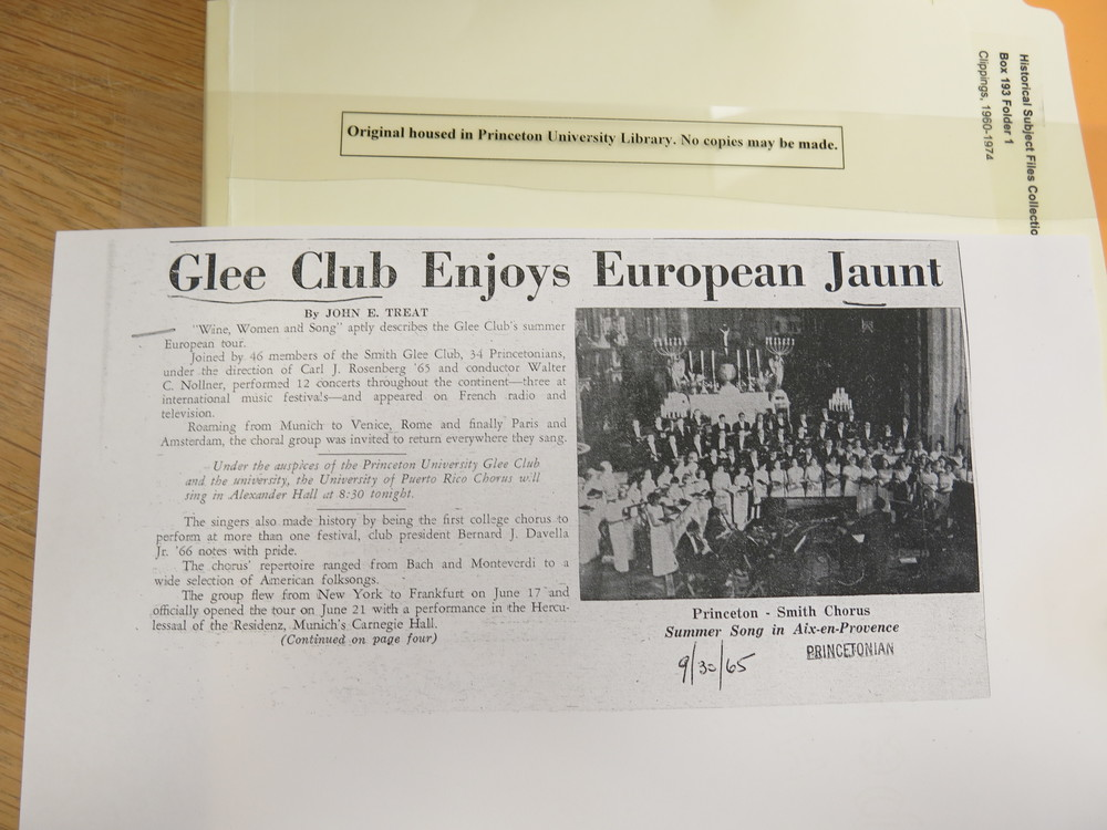 Apparently the Glee Club jaunted back in the 60s as well!