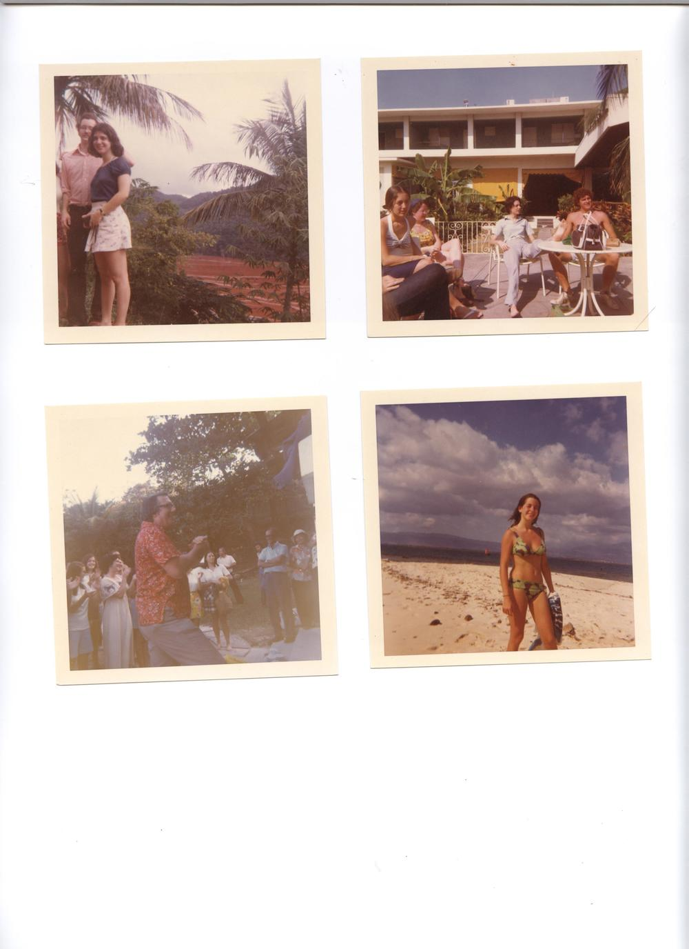 Top left – Two Glee Club members standing in front of bauxite lake Top right – Glee Club members relaxing Bottom left – Walter Nollner conducting at the Governor's Mansion concert Bottom right – me on the beach  Photos courtesy of[Nancy (Lester) du Tertre '77/ '78]