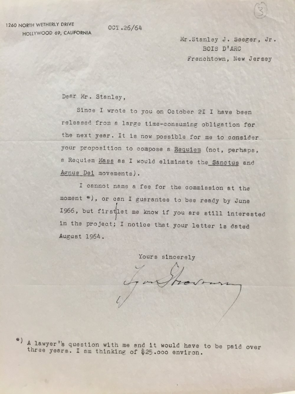 In this letter dated October 26, 1964 Stravinsky indicates a preliminary interest in Mr. Seeger's commission.