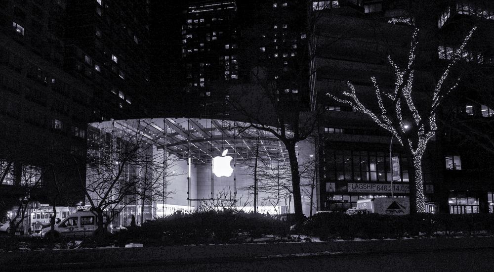 Apple   at night