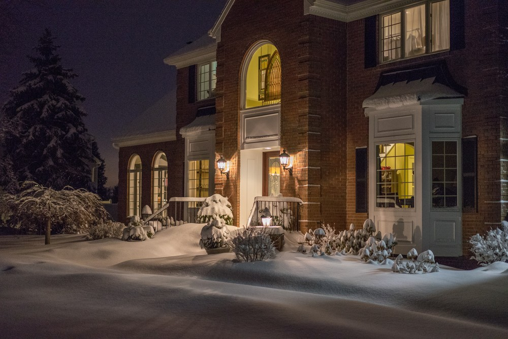 house on a winter night