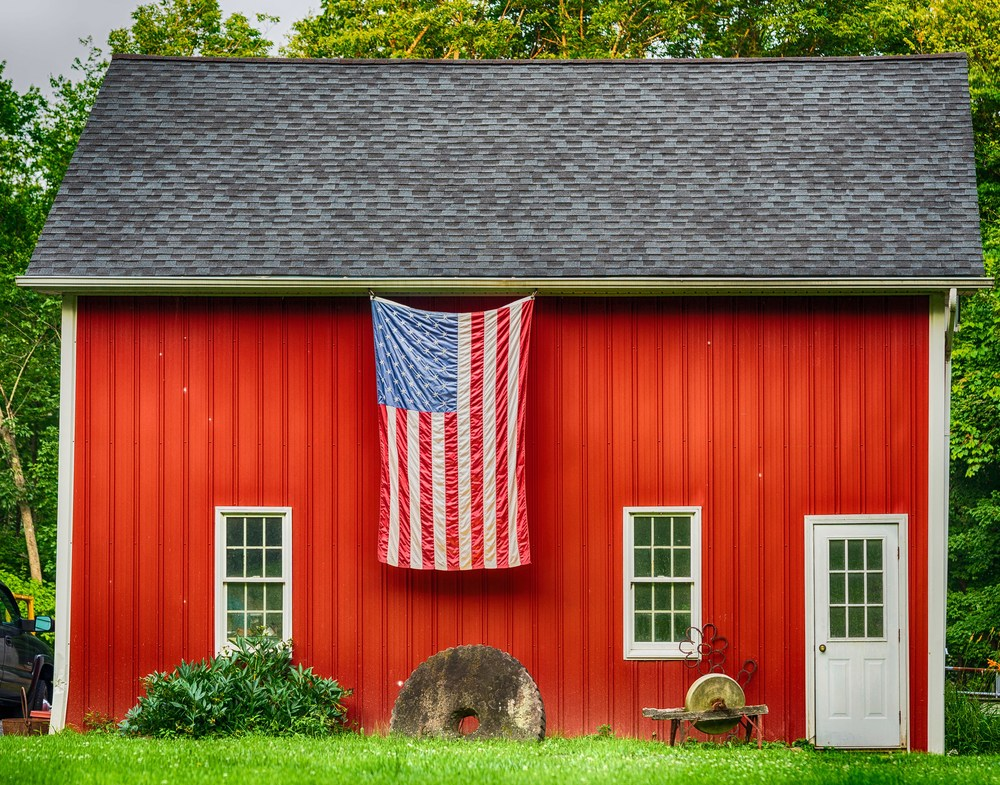 Red Barn and flag