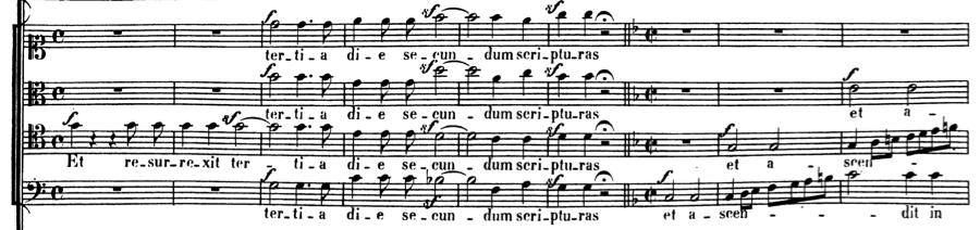 Ludwig van Beethoven. Missa Solemnis, Opus 123.  Credo, Allegro/Allegro Molto,  measures 188-196.