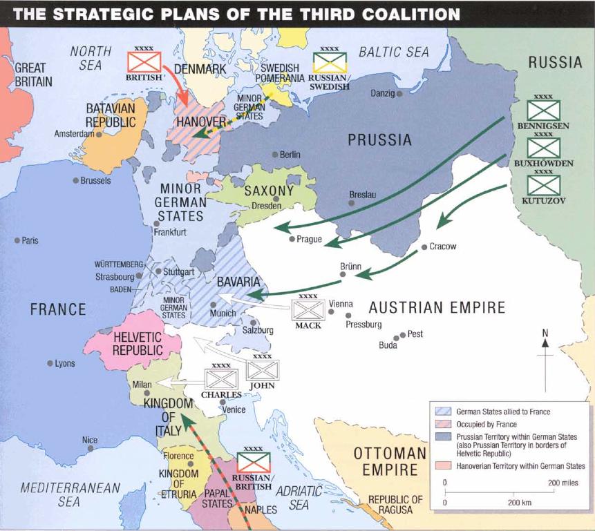 Figura 1: Estratégia da Terceira Coligação, em Agosto de 1805. Austerlitz 1805 (p. 9) © Osprey Publishing, part of Bloomsbury