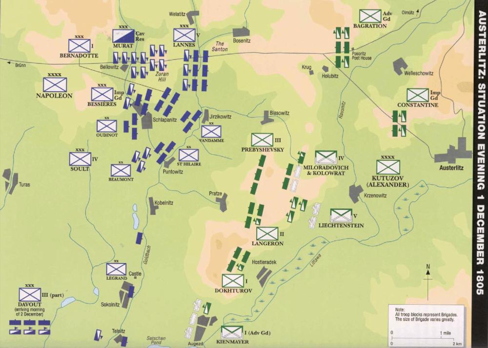 Figura 2: Disposição dos exércitos na véspera da batalha de Austerlitz, a 1 de Dezembro de 1805. Austerlitz 1805 (p. 40) © Osprey Publishing, part of Bloomsbury