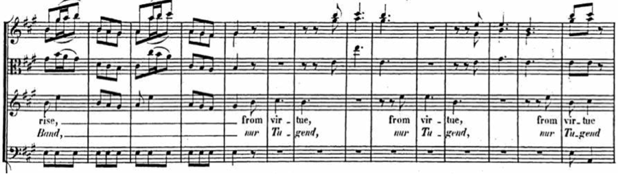 Example 2. Handel, Saul, act I, scene ii (Birth and Fortune I despise!), mm. 27-40.