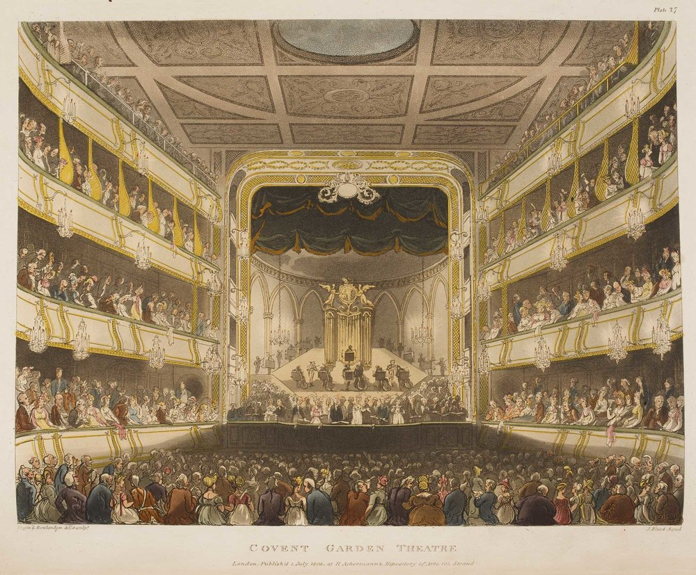 Plate 1. An oratorio performance at Covent Garden Theatre, as it appeared 1803-8. From Rudolph Ackermann, The Microcosm of London (1808-10), after A. C. Pugin and T. Rowlandson.
