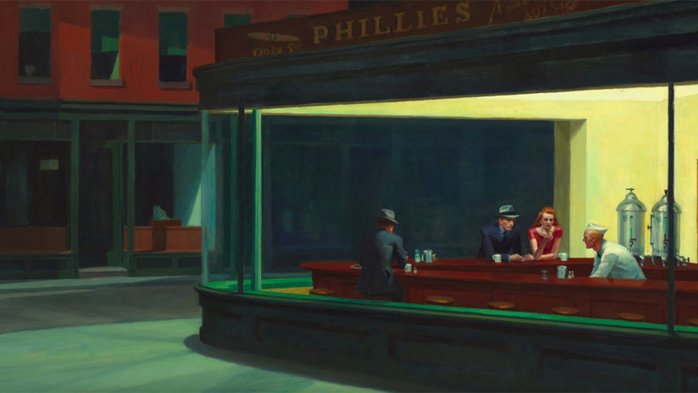 Nighthawks , Edward Hopper, 1942 (Art Institute of Chicago).