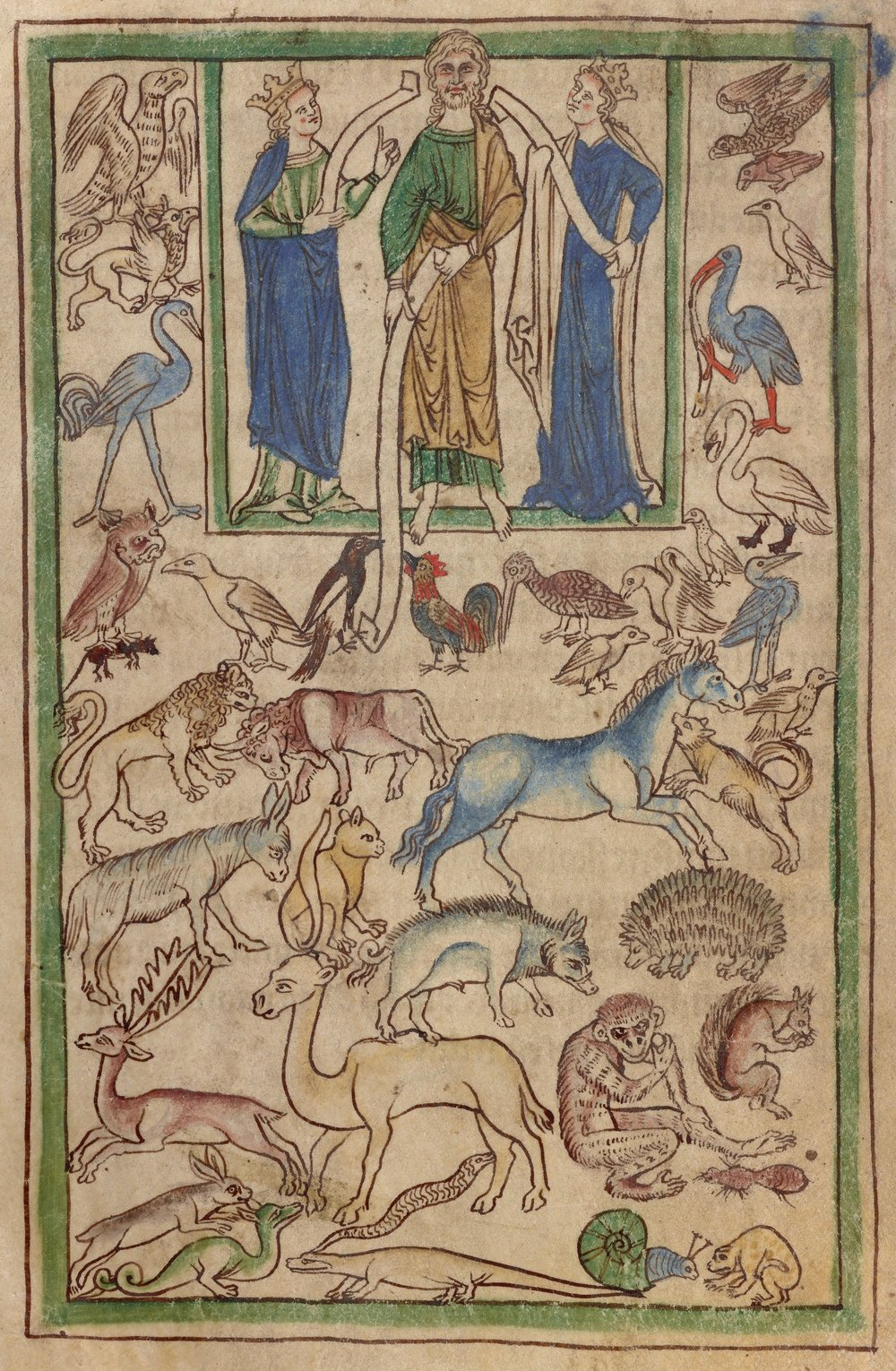 Adão nomeando os animais , Bestiário Northumberland  (Inglaterra, c. 1250-60), ms. 100, fol. 5v. The J. Paul Getty Museum, Los Angeles