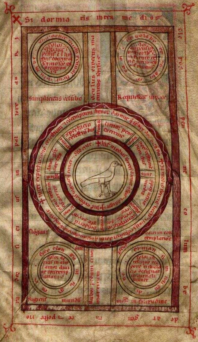 Diagrama da pomba,Ordem de Cister, Mosteiro de Lorvão, códice 5 [cota antiga: ms. 90] (Lorvão, 1184), fol. 3r. Arquivo Nacional Torre do Tombo.