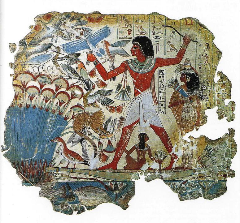 Figura 2.  Pintura mural egípcia (ca. 1350 a.C.) – fragmento da parede da capela tumular de Nebamun, no qual se observam representadas várias aves (atualmente na coleção do Museu Britânico)  Autor:  Desconhecido  Fonte:  https://en.wikipedia.org/wiki/Tomb_of_Nebamun#/media/File:TombofNebamun-2.jpg