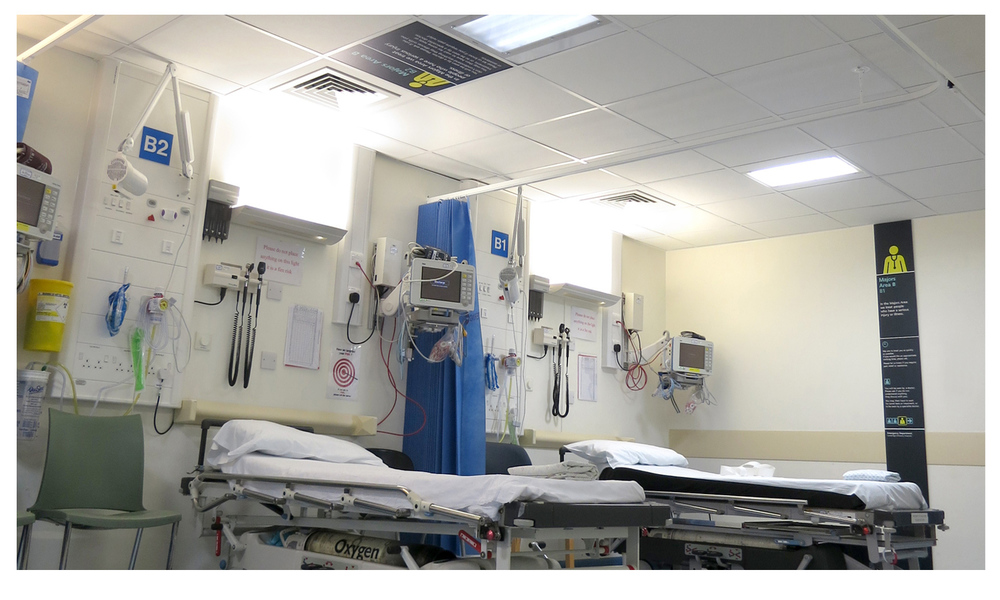 Ceiling and wall panels installed in a majors area of A&E.