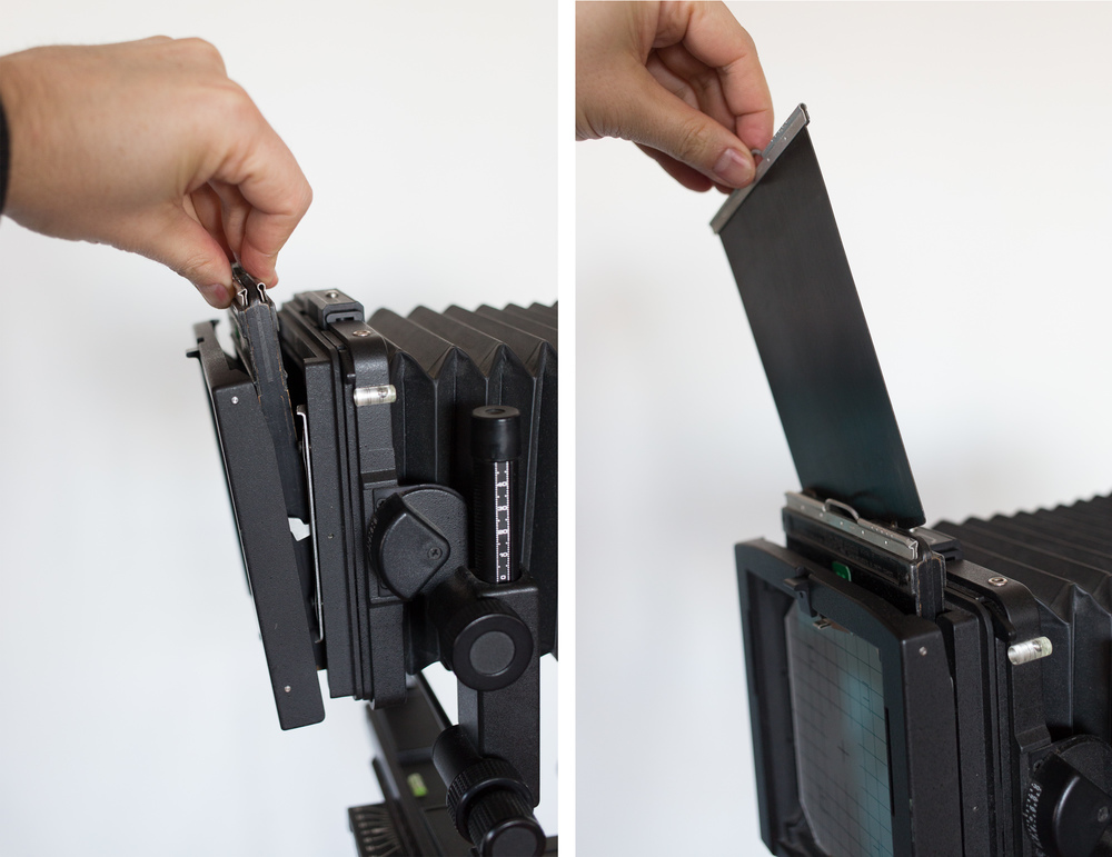 Inserting the Film Holder and Removing the Dark Slide