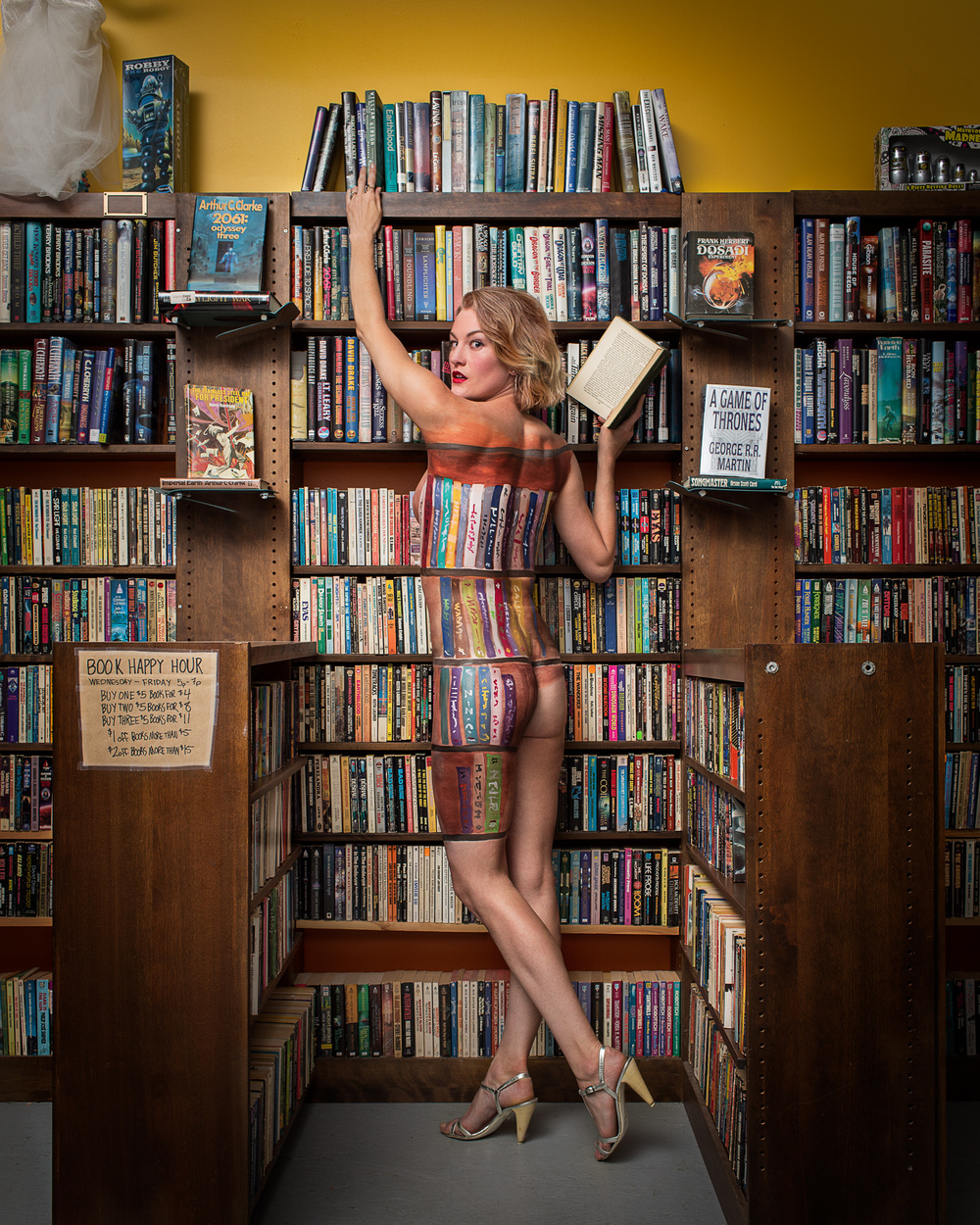 Cici Body Painted Into A Bookshelf Wadman