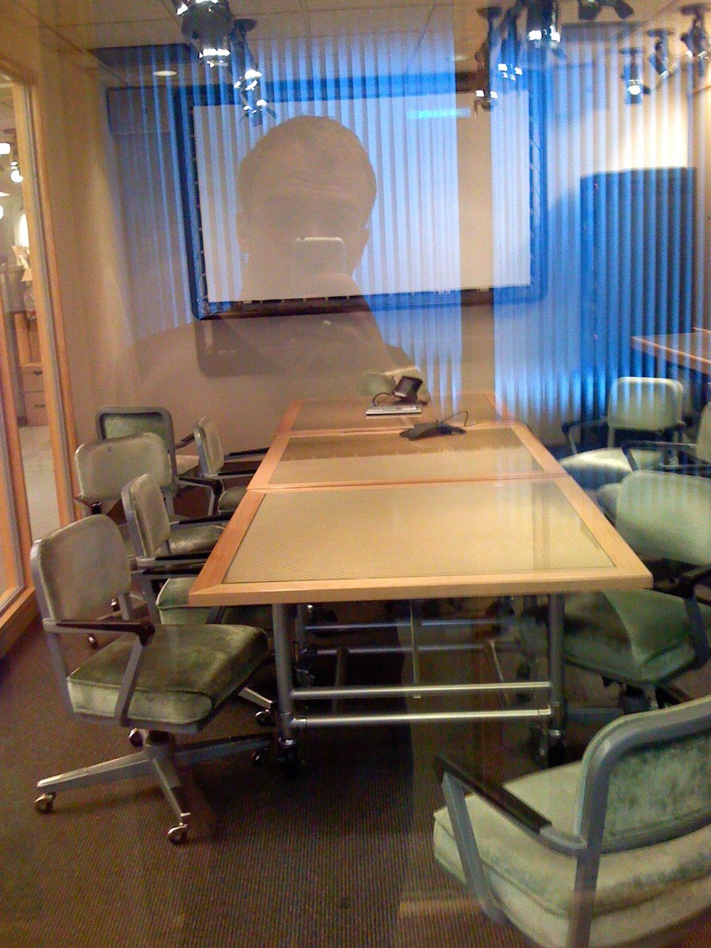 Workspace at the agency. Headed to work. Shot on iPhone, Aug 3, 2007