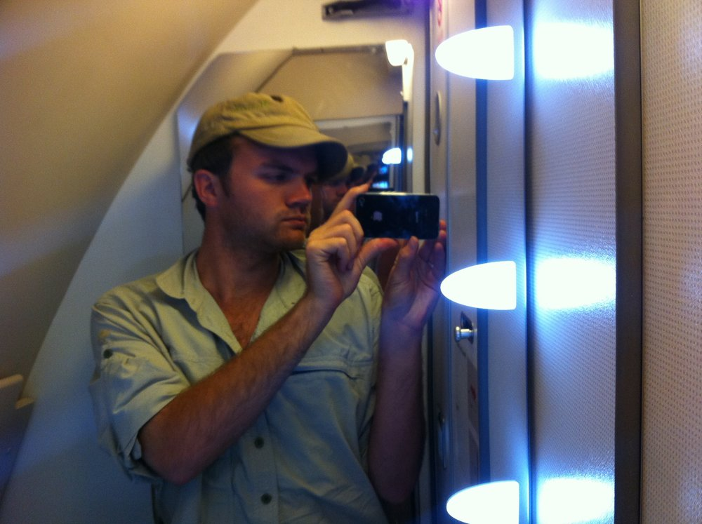 Airplane bathroom portrait.