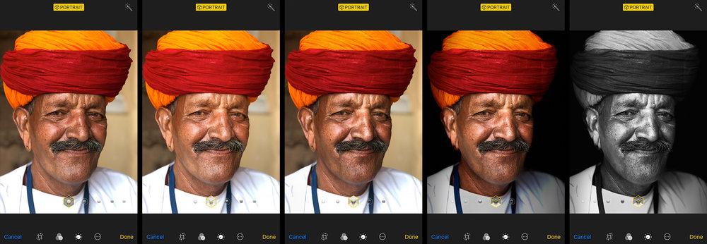 Left to right: Natural Light, Studio Light, Contour Light, Stage Light, Stage Light Mono Image of Padam Singh in Jodhpur, India.