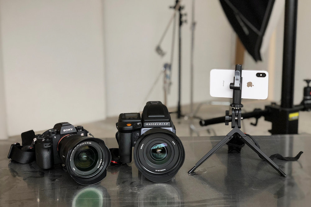 Left to right: Sony A9 w/ 16–35 f/2.8, Hasselblad H6D-100c w/ 24mm, iPhone X w/ UltraPod II + Studio Neat Glif