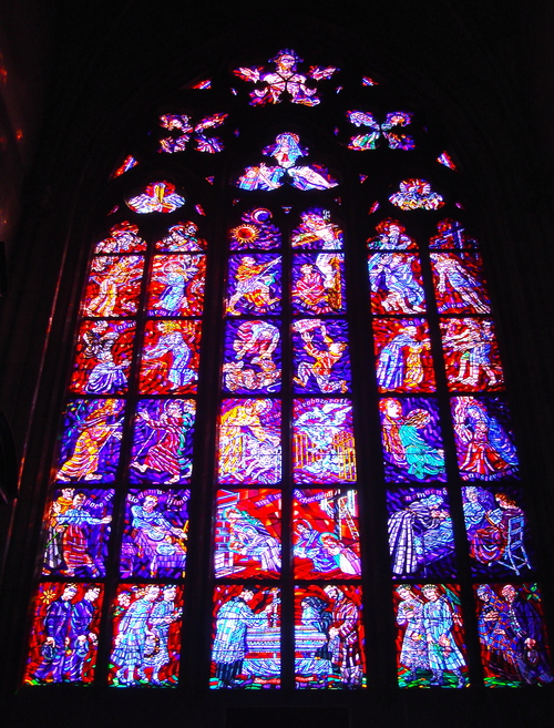 Stained Glass Windows In Pragues St Vitus Cathedral